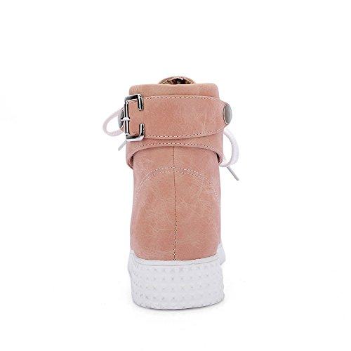 Balamasa Flickor Bandage Metall Prydnad Imiterade Läderstövlar Rosa