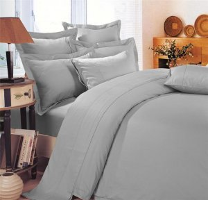 500 TC ULTRA SOFT SILKY 100% EGYPTIAN COTTON 4 PIECE LUXURIOUS SHEET SET KING SILVER GREY SOLID BY PEARLBEDDING