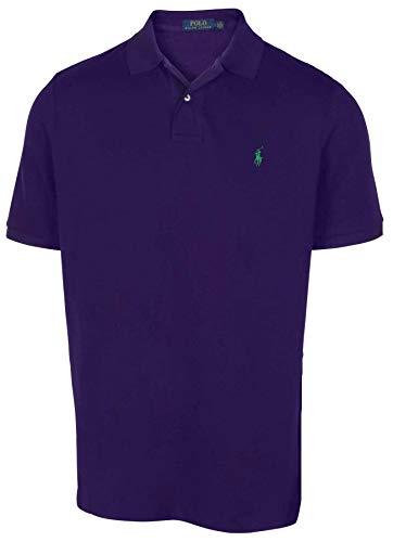 (Polo RL Men's Custom Slim Fit Mesh Pony Shirt-Dark Purple-Medium)