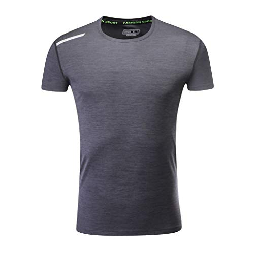 Big Sale! BBesty Men's Summer Casual Round-Neck Breathable T-Shirt Fitness Sports Fast-Dry Breathable Top Blouse Dark -