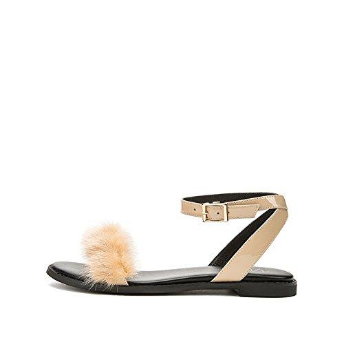 DHG basso Tacchi Albicocca estivi alla a alti tacco Sandali piatti da donna con 39 tacco moda Pantofole casual Sandali Sandali basso rCqar