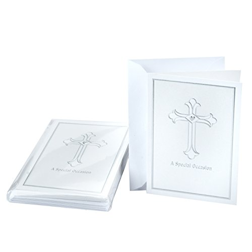 Hallmark Religious Invitations, Silver Cross (Pack of 10 Invites and Envelopes for Baptisms, First Communions, Confirmations, and More)
