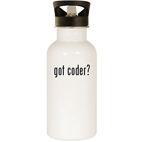 got coder? - Stainless Steel 20oz Road Ready Water Bottle, White (Bottle Laser Developer)