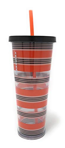 Starbucks Venti Acrylic 24oz Insulated Cold Cup Tumbler for Fall, Orange Black and White Gift for Halloween and your favorite Coffee or Pumpkin Spice Latte