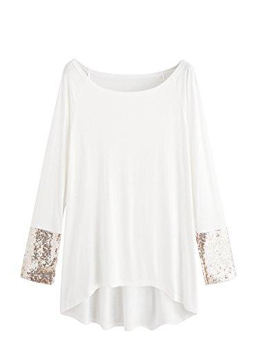 MakeMeChic Women's Solid Dip Hem Sequin Long Sleeve T-shirt Tee Top White S