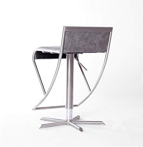 DS Chaise de bar Chaise de Bar de Luxe avec Dossier et Repose-Pieds chromé Chaise Haute Tabouret de Bar Chaise Longue de Salon/réglable Ascenseur à gaz Rotatif/Gris #
