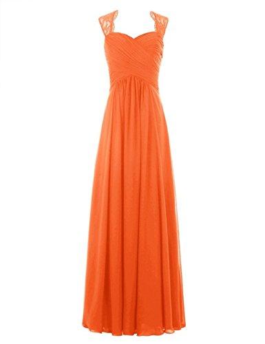 Lang Damen Spitzen Chiffon Fanciest Orange Brautjungferkleider Sleeve Navy Cap Blue qXHdtwf