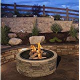 Cast Stone Wood Burning Fire Pit 35'' Diameter Steel Base By Huntington Cove w/ 26'' Mesh Screen Spark Protector w/ Lift Hook, Large Heat Resistant Fire Bowl, Appealing Medium Brown Simulated Stone Base by SJ
