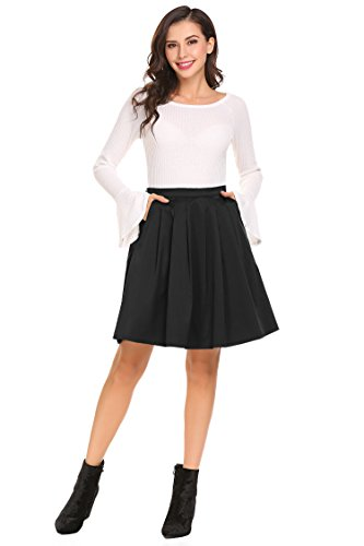 SHINE Women's High Waist Knee Length A-Line Pleated Skater Skirt With Pockets,Black,Small