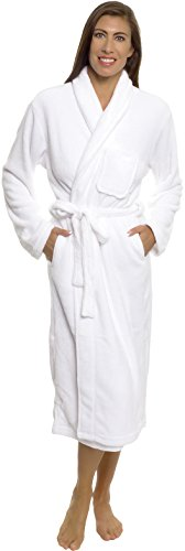 Silver Lilly Womens Plush Wrap Kimono Loungewear Robe (White, S/M)