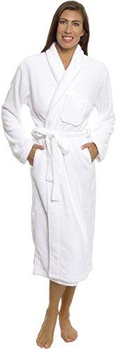 Silver Lilly Womens Plush Wrap Kimono Loungewear Robe (White, L/XL)