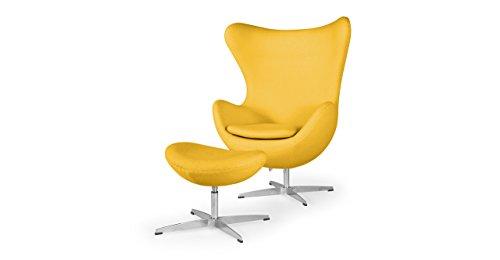 Kardiel Amoeba Chair & Ottoman, Citron Boucle Cashmere Wool
