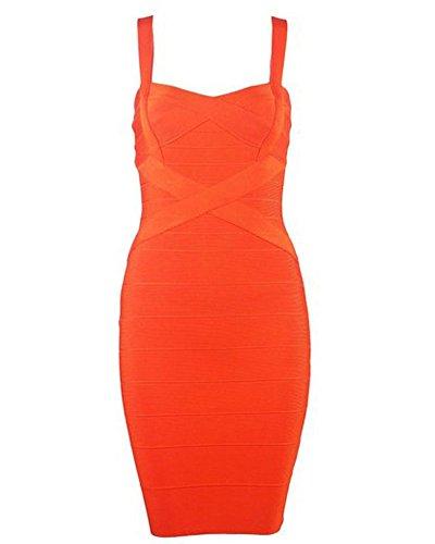 UONBOX Women's Rayon Cute Sleeveless Bodycon Bandage Strap Dress Orange M