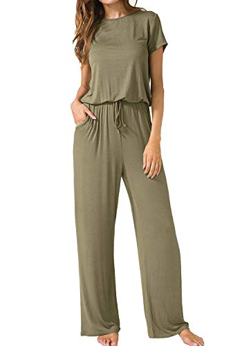 (ThusFar Women's Short Sleeve Ladies Jumpsuit - Loose Wide Legs with Pockets Army Green Medium)