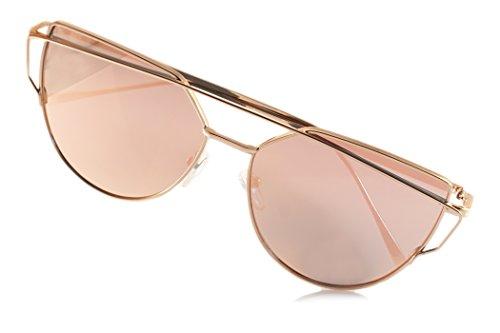 Standard Crossbar Pad - Fa.Beau.Lux Single or 2 Pack Pink Mirrored Flat Lens Sunglasses Women (Gold/ Cross Bar Cat-Eye, 52)
