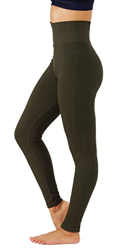 KVKSEA Women's High Waist Cotton-Spandex Yoga Pants Workout Leggings (Large/X-Large, Olive-lhw010)