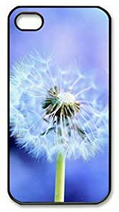 iPhone 4 Case,iPhone 4S Case,Pure Blowing Dandelion Blue Background PC Hard Shell Black Cover Case for iPhone 4/4S