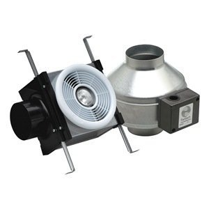 "Fantech PB110 Inline Exhaust Bath Fan Kit, 110 CFM, Remote mount fan, for 4"" duct"