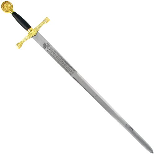 BladesUSA-C-900G-Two-Tone-Excalibur-Medieval-Sword-with-Display-Plaque-45-12-Inch-Length