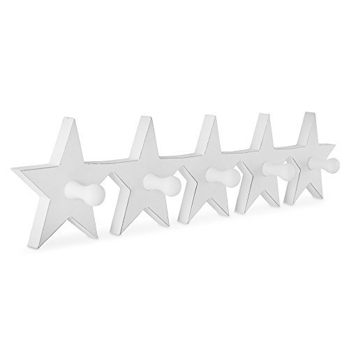 'Jive' White Wooden Star Coat Rack with Five Hooks
