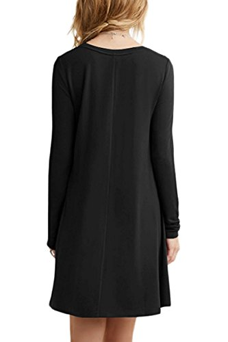 Minetom Damen Frühling Sommer Casual Rundhals Langarm Kleid Tunika T-Shirt Kleid Lose A-Linie Minikleid A Schwarz zBsk8Lz8