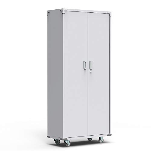 """Bonnlo 74"""" Tall Steel Storage Cabinet Rolling Metal Storage Locker with Adjustable Shelves and Door for Garage, Office, Kitchen, Laundry Room"""