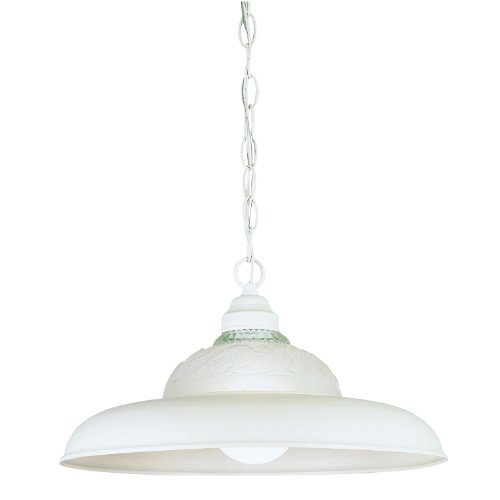Westinghouse Lighting 6616000 1-Light Interior Pendant, Textured White Finish with Embossed Floral and Leaf Design ()