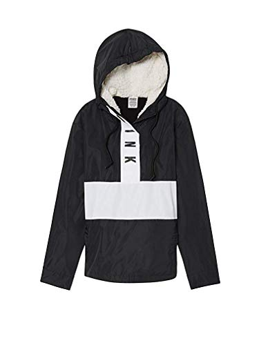 Victoria's Secret Pink Sherpa Lined Hooded Anorak Jacket, Black/White, Medium/Large