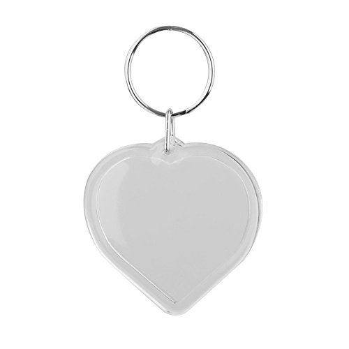 HugeStore 12 Pcs Clear Acrylic Blank Photo Keyring Photo Frame Keychains Snap-In Photo Picture Frame Heart
