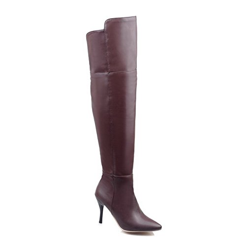 Ladola Girls Stiletto Winkle Pinker Zipper Brown Imitated Leather Boots - 10.5 B(M) US]()