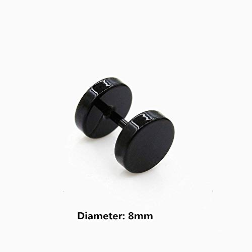 1 Pair Magnet Fake Cheater Illusion Ear Plug Tunnel Stretcher Earring Ear Stud (Diameters - 8mm (Dumbbell)) Curved Barbell Illusion Earrings