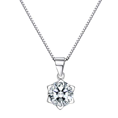 925 Sterling Silver Round Pendant - F.ZENI Solitaire Pendant Necklace 925 Sterling Silver Round-Cut CZ Simulated Diamond Choker for Women Girls with Gift Box -18''