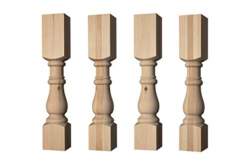 Country Squire Dining Table Legs in Knotty Pine Wood (Set of 4) - Harvest Trestle Table