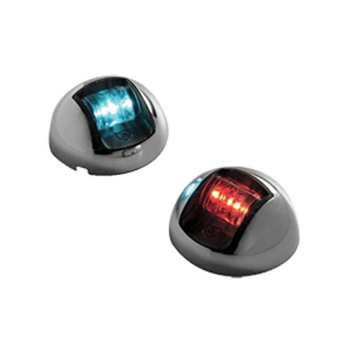 Attwood 3500 Series 2-Mile LED Vertical Mount, Bi-Color Red/Green Combo Sidelight- Pair - 12V - Stainless Steel Housing - 1 Year Direct Manufacturer Warranty by Attwood Marine