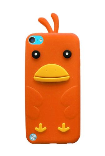 iPod Touch 6 Case, HHI Silicone Skin Case for iPod Touch 6th and 5th Generation - Orange Funky Duck (Compatible with iPod Touch 2012, 2013, 2014 and 2015 Version)