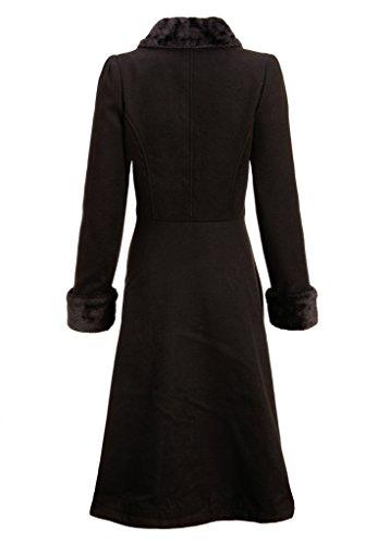 Women's Black Faux Fur Collar Vintage Dress Coat Winter Jacket - Size X-Large