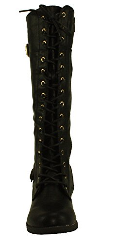 Forever Women's Mango-27 Round Toe Low Heel Knee High Boots