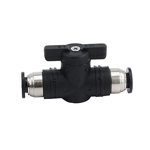 Beduan Push to Connect Fitting Valve, 10mm Tube OD Pneumatic Air Flow Control Ball Valve Straight Union Connect Adapter