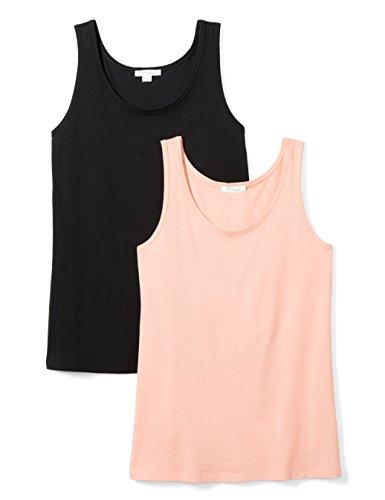 (Daily Ritual Women's Lightweight 100% Supima Cotton Tank Top, Black/Pink-Peach, XX-Large)