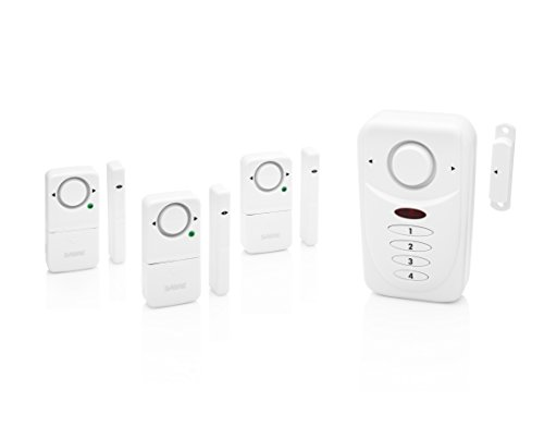 SABRE Home Wireless Alarm Kit – Loud 120 dB Siren – Easy Install – 3 Pack Window Alarm & Main Door Alarm w/Entry & Exit Delay Settings –NEW Home Mode Setting for Max Safety While Asleep at Home