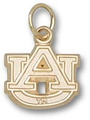 Auburn University Tigers AU Pendant 3/8 Inch - 14K Yellow Gold by Logo Art