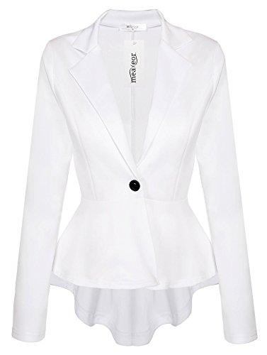 Meaneor Women's Crop Frill Shift Slim Fit Peplum Blazer Jacket Plus Size Coat White XL