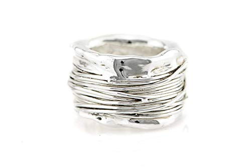 Chunky Sterling Silver Rings - Chunky Statement Alternative 925 Sterling Silver Wedding Band, Wide Large Unique Boho Wrap Ring for Women, Handmade Bold Modern Bohemian Jewelry, Size US 8