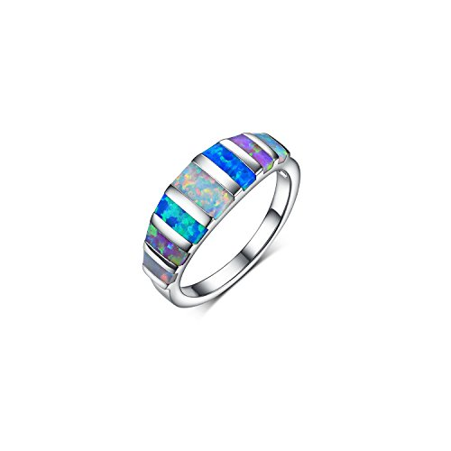 GEMSME 18K White Gold Plated Color Opal Created Women Ring Jewelry