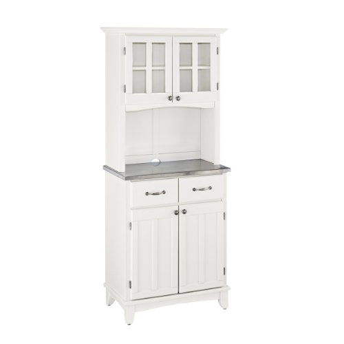 Home Styles 5001-0023-22 Buffet of Buffet 5001 Series Stainless Top Buffet Server and Hutch, White, 29-1/4-Inch (Server Top Veneer)