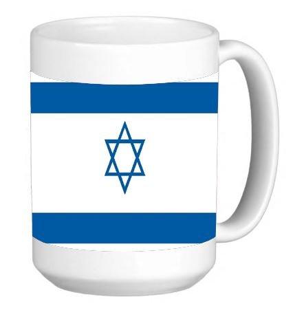 Israeli Flag 15 ounce Ceramic Coffee Mug Tea Cup (Israeli Ceramic)