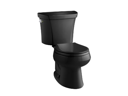 7 Wellworth Toilet (KOHLER K-3987-7 Wellworth Two-Piece Round-Front Dual-Flush Toilet with Class Five Flush System and Left-Hand Trip Lever, Black)