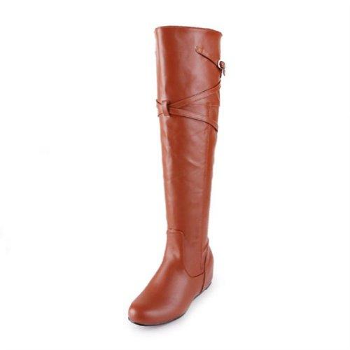 Charm Foot Vintage Dames Lage Hak Laarzen Voor Heren Rijlaarzen Bruin