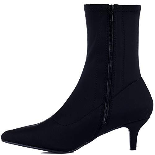 Spylovebuy Chaussures Femmes heel Averyy Noir Kitten Bottines Stretch HvrXH6qA