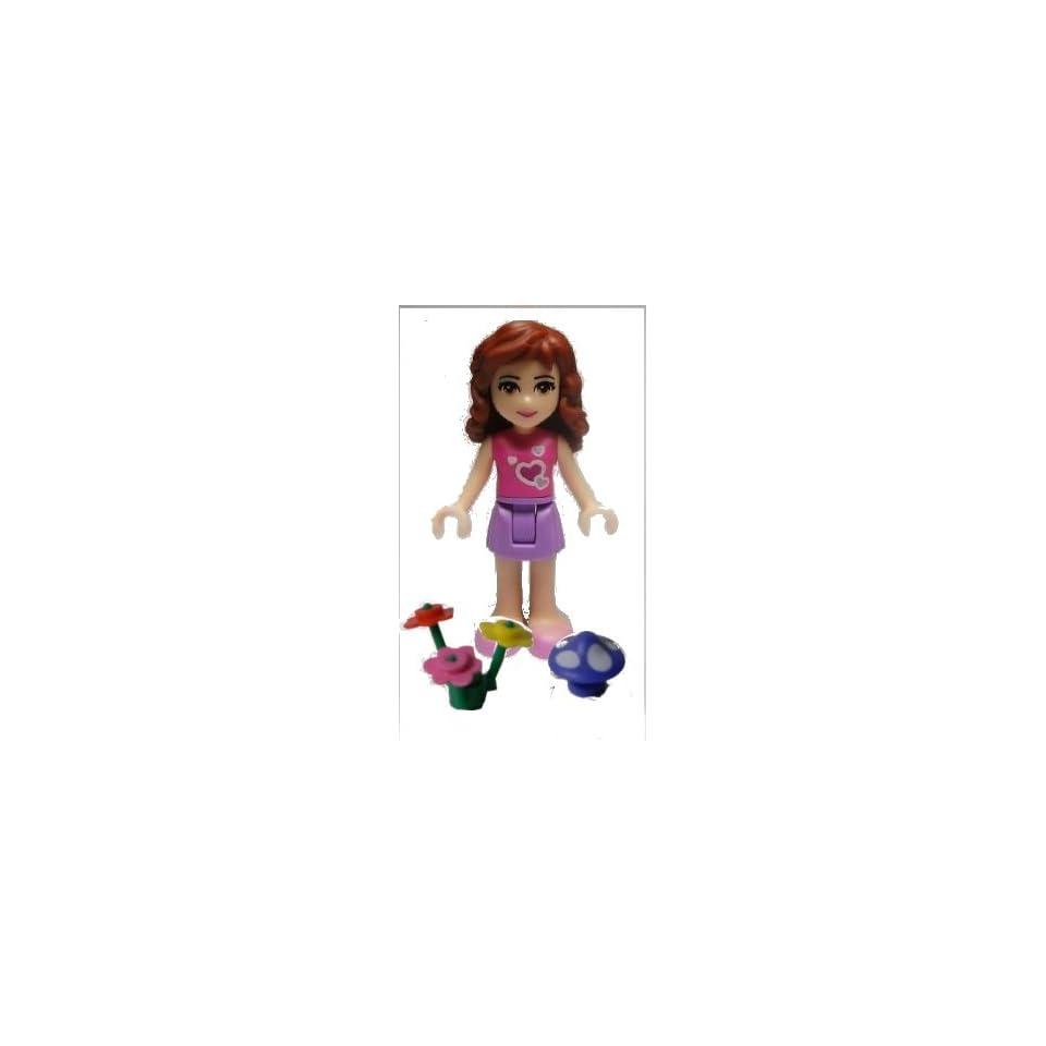 Lego Friends Loose Minifigure Olivia, Medium Lavender Skirt, Dark Pink Top (Must Include Mushoom and Flowers Colors Vary)